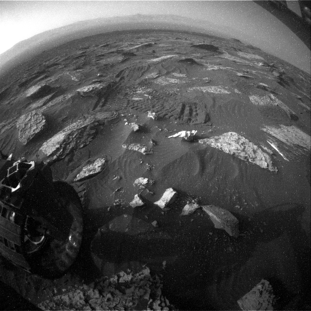 NASA's Mars rover Curiosity acquired this image using its Rear Hazard Avoidance Cameras (Rear Hazcams) on Sol 1715