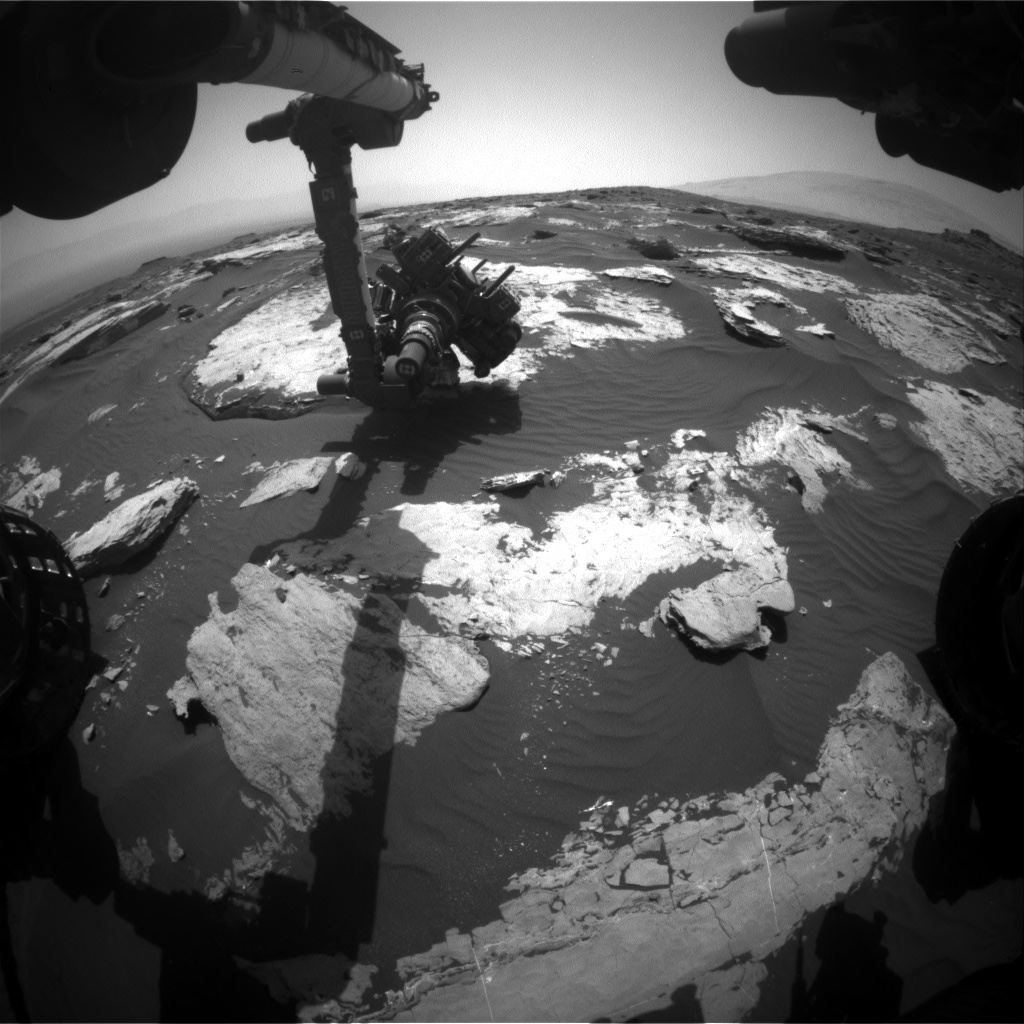 Nasa's Mars rover Curiosity acquired this image using its Front Hazard Avoidance Camera (Front Hazcam) on Sol 1732, at drive 678, site number 64