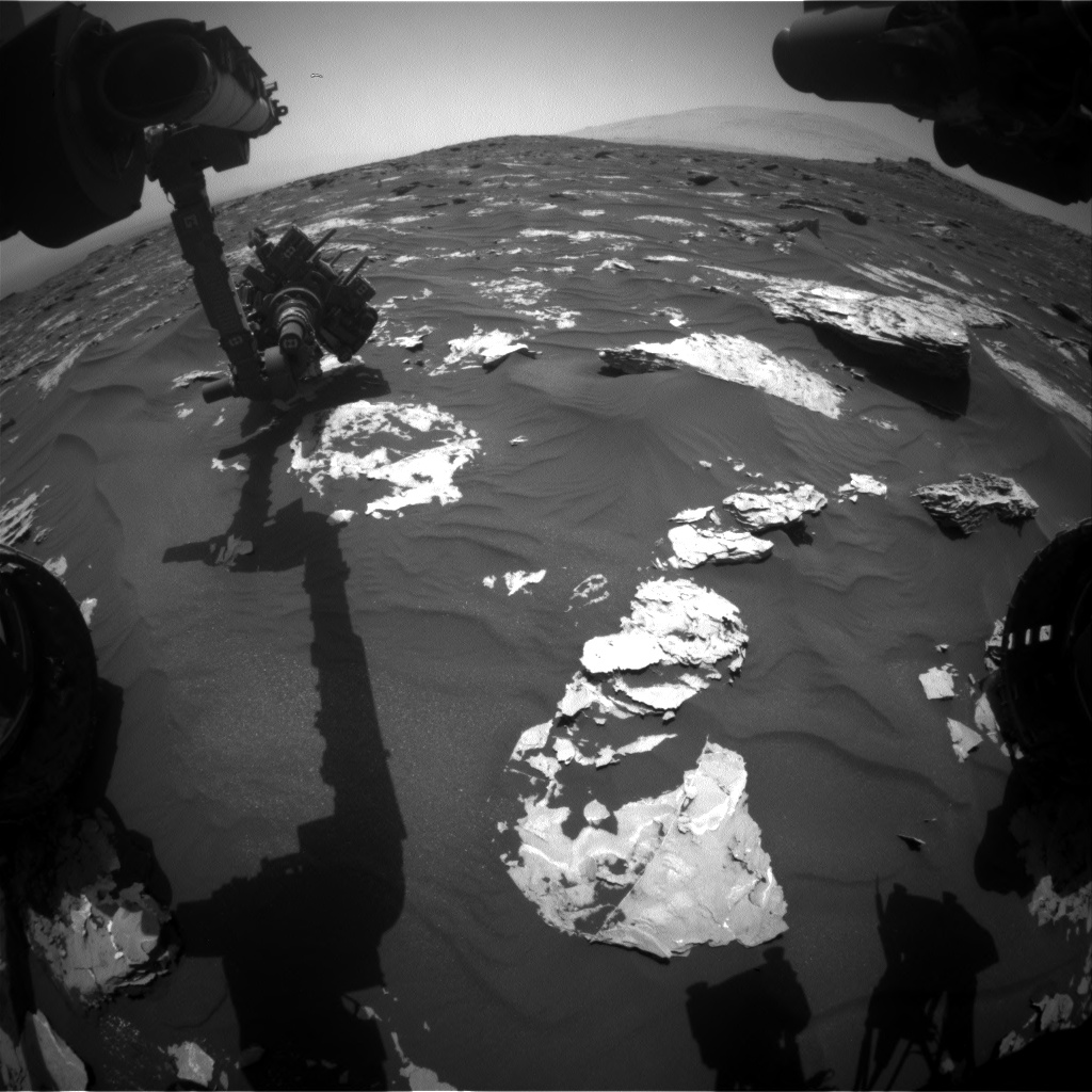 Nasa's Mars rover Curiosity acquired this image using its Front Hazard Avoidance Camera (Front Hazcam) on Sol 1734, at drive 846, site number 64