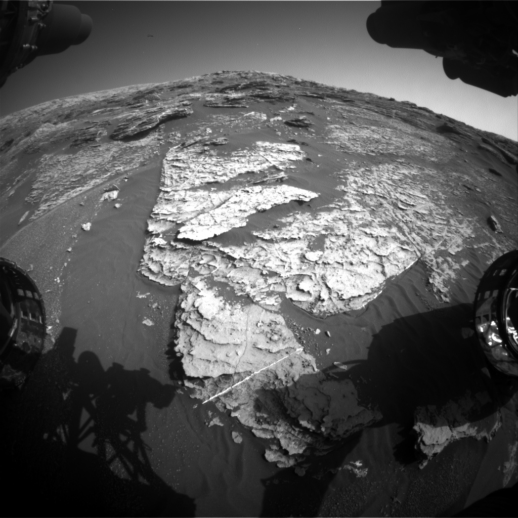 NASA's Mars rover Curiosity acquired this image using its Front Hazard Avoidance Cameras (Front Hazcams) on Sol 1800