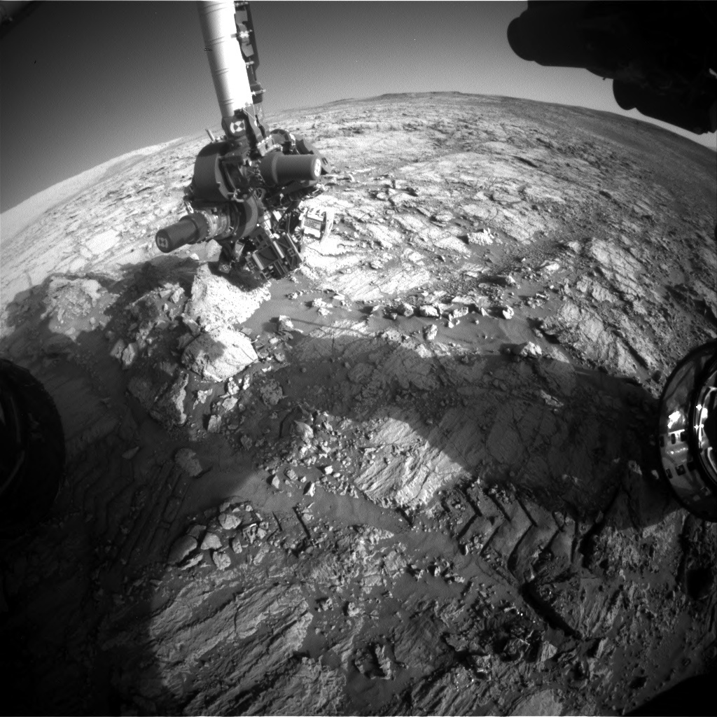 NASA's Mars rover Curiosity acquired this image using its Front Hazard Avoidance Cameras (Front Hazcams) on Sol 1838