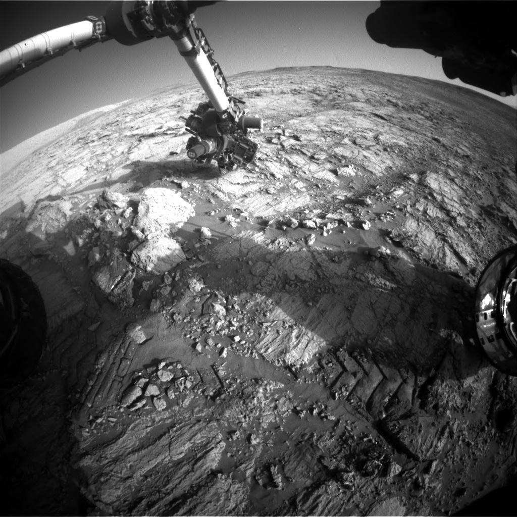 Nasa's Mars rover Curiosity acquired this image using its Front Hazard Avoidance Camera (Front Hazcam) on Sol 1838, at drive 1332, site number 66