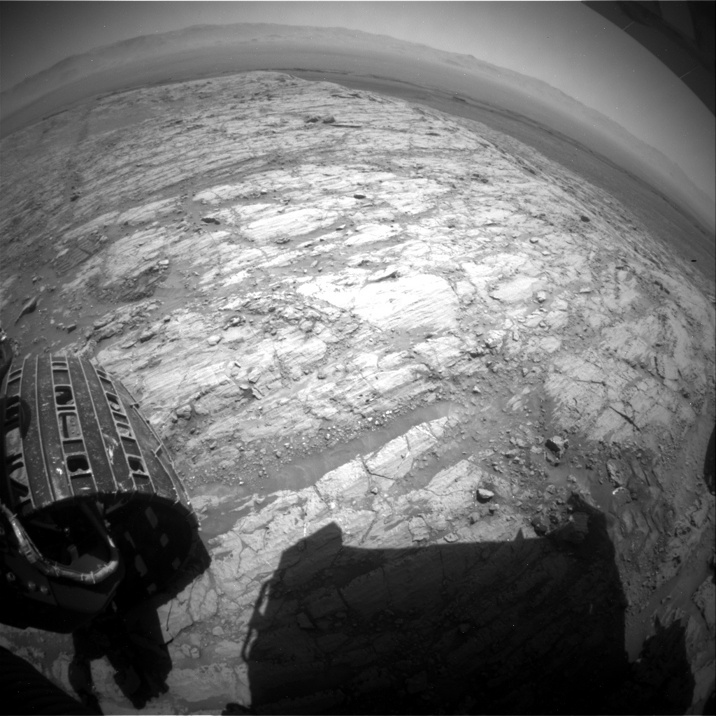 NASA's Mars rover Curiosity acquired this image using its Rear Hazard Avoidance Cameras (Rear Hazcams) on Sol 1844