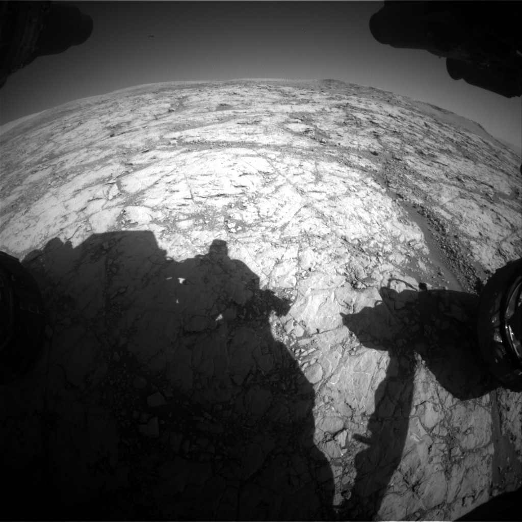 NASA's Mars rover Curiosity acquired this image using its Front Hazard Avoidance Cameras (Front Hazcams) on Sol 1850