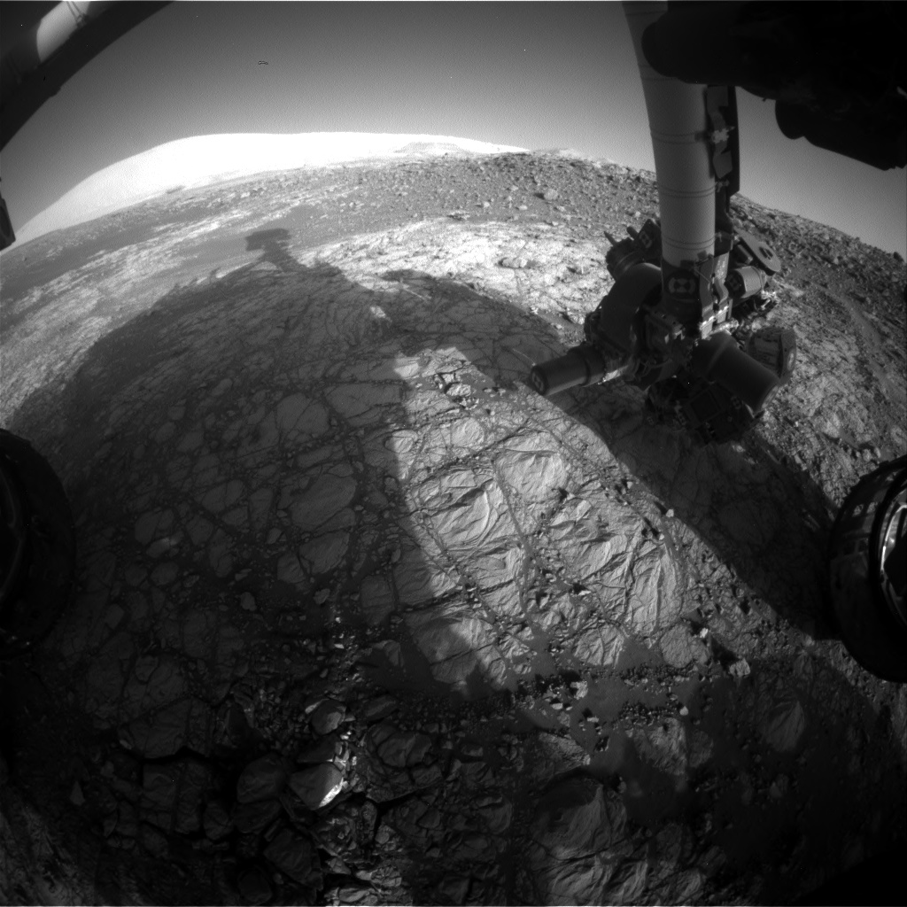 Nasa's Mars rover Curiosity acquired this image using its Front Hazard Avoidance Camera (Front Hazcam) on Sol 1922, at drive 1762, site number 67