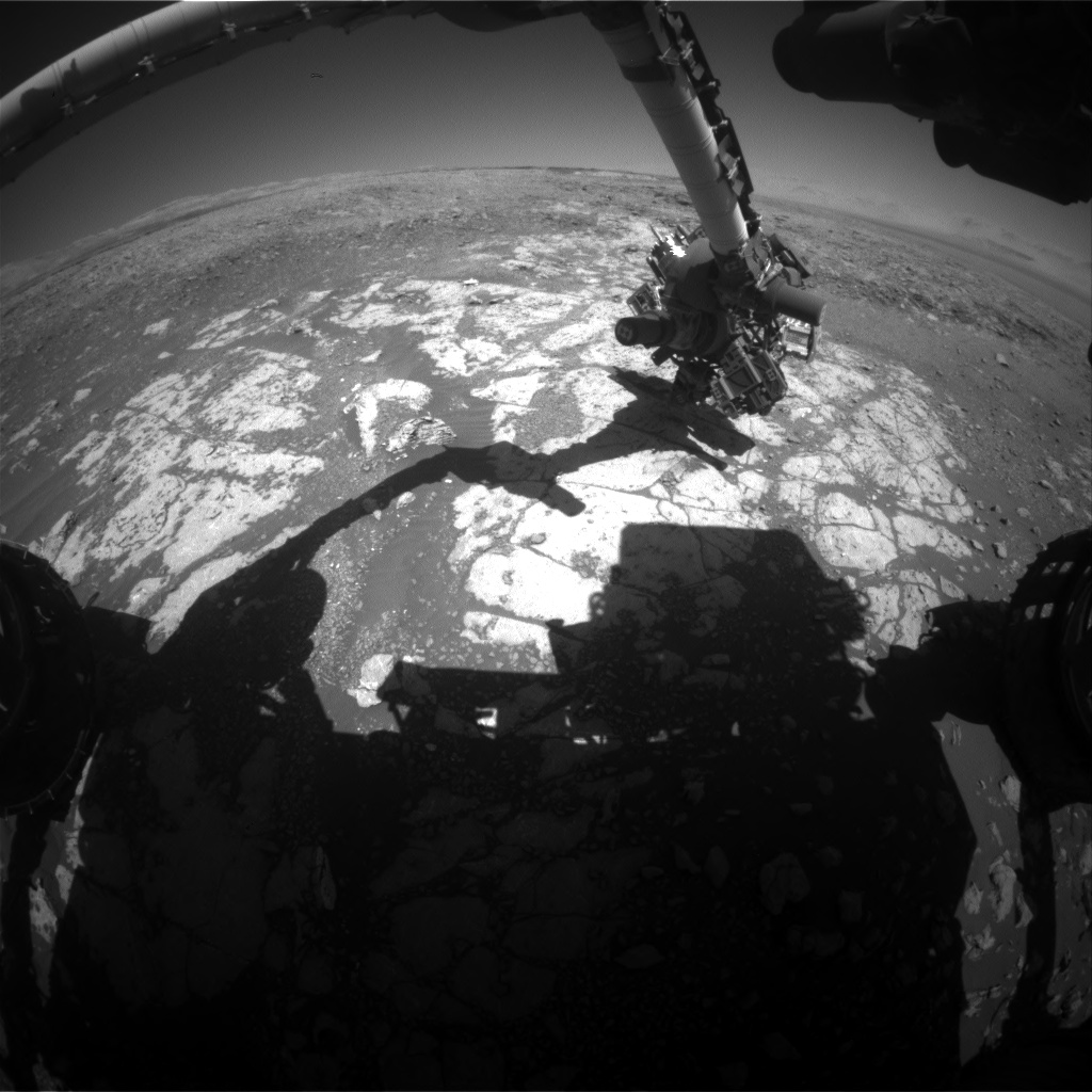 Nasa's Mars rover Curiosity acquired this image using its Front Hazard Avoidance Camera (Front Hazcam) on Sol 1970, at drive 580, site number 68