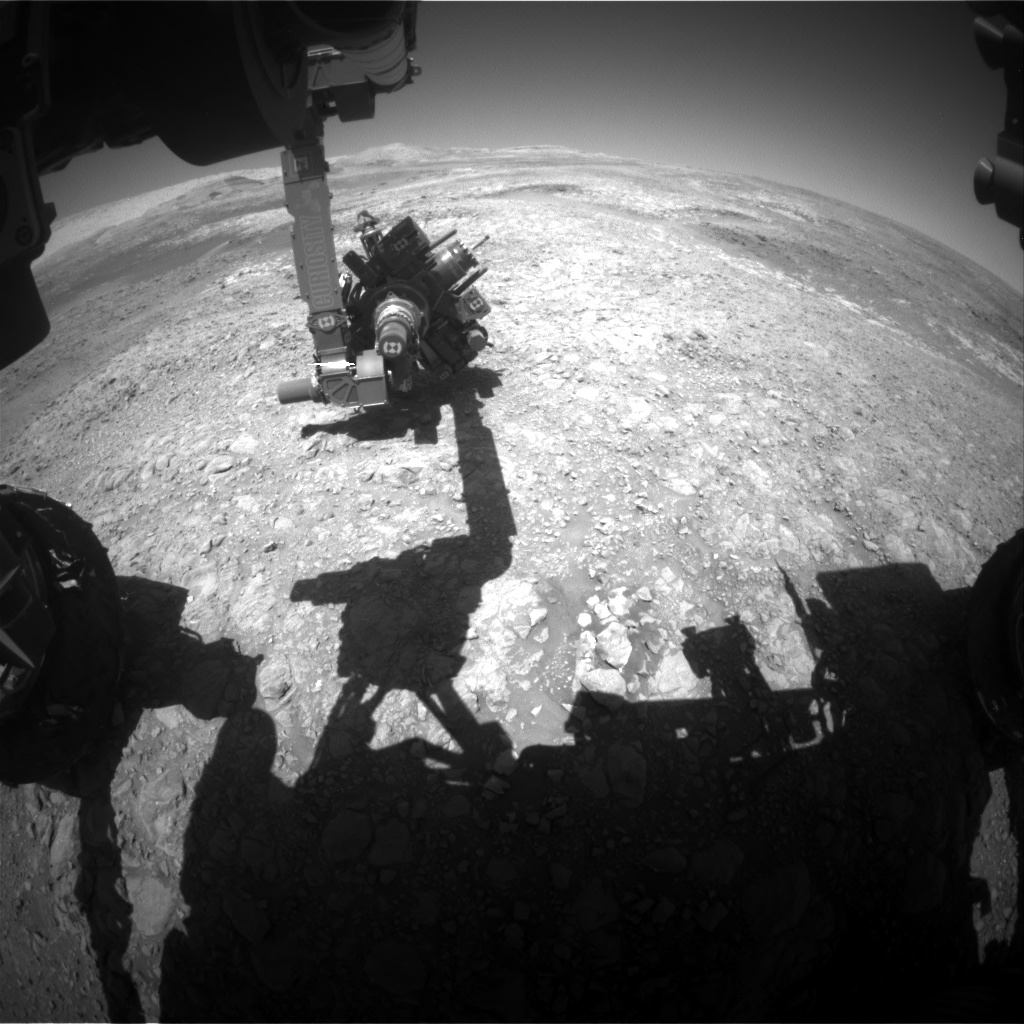 Nasa's Mars rover Curiosity acquired this image using its Front Hazard Avoidance Camera (Front Hazcam) on Sol 1989, at drive 1232, site number 68