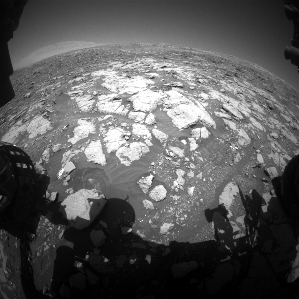 Nasa's Mars rover Curiosity acquired this image using its Front Hazard Avoidance Camera (Front Hazcam) on Sol 2002, at drive 2626, site number 68