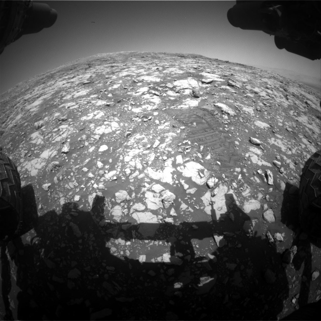 Nasa's Mars rover Curiosity acquired this image using its Front Hazard Avoidance Camera (Front Hazcam) on Sol 2004, at drive 90, site number 69