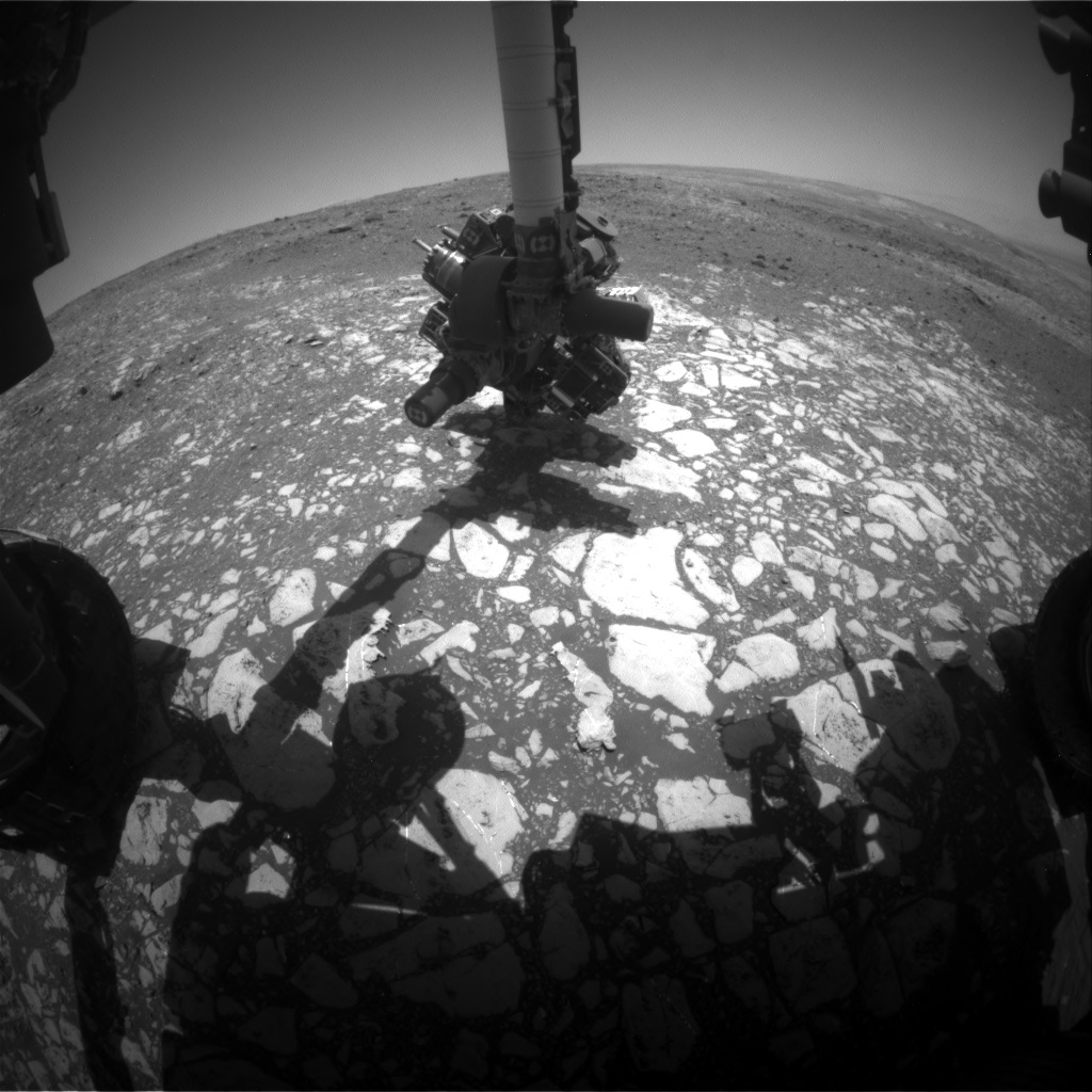 Nasa's Mars rover Curiosity acquired this image using its Front Hazard Avoidance Camera (Front Hazcam) on Sol 2014, at drive 1384, site number 69