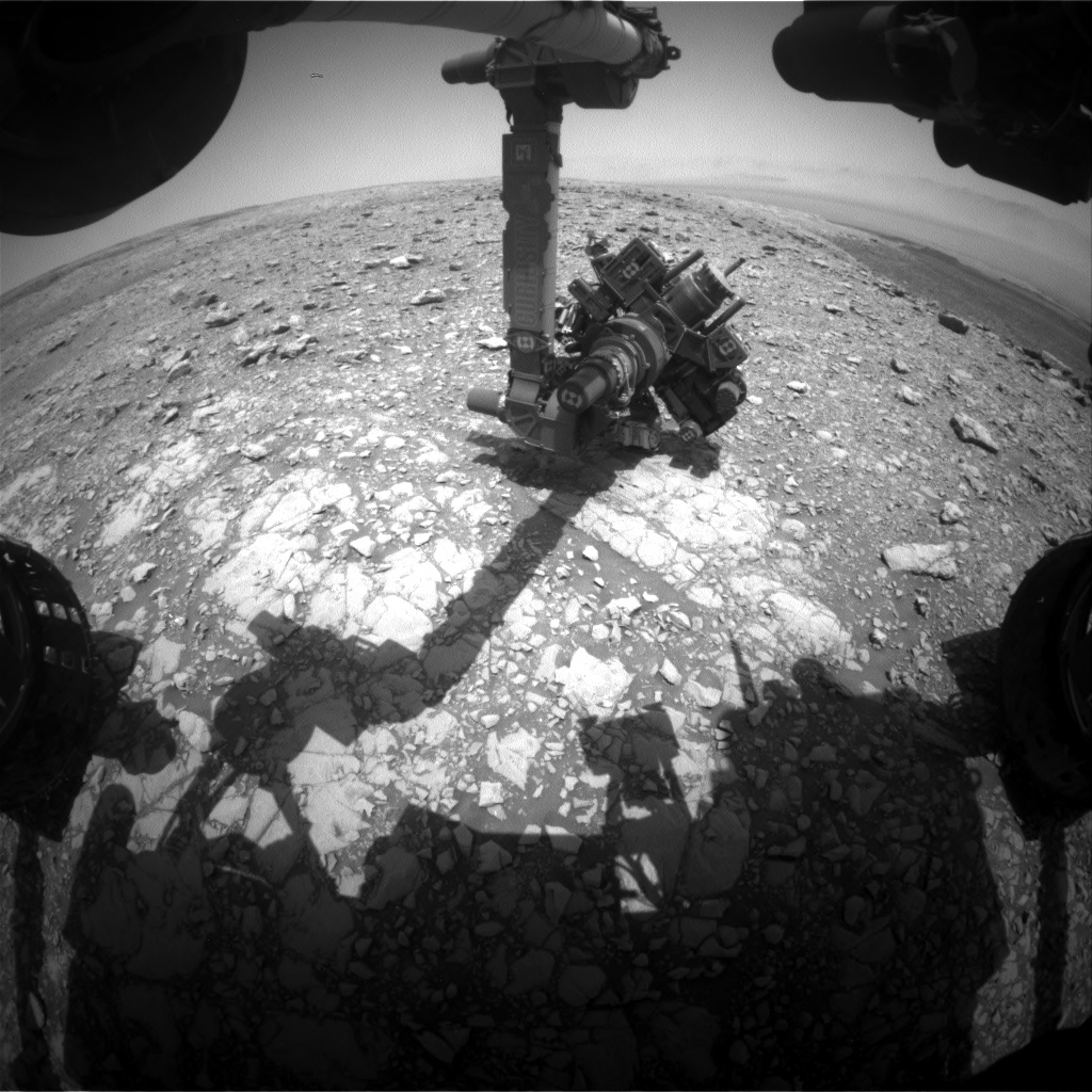 Nasa's Mars rover Curiosity acquired this image using its Front Hazard Avoidance Camera (Front Hazcam) on Sol 2032, at drive 2594, site number 69