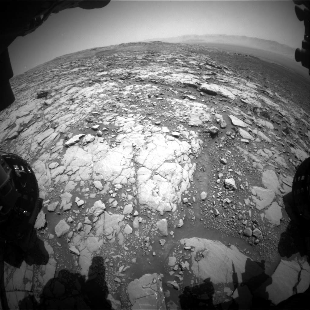 Nasa's Mars rover Curiosity acquired this image using its Front Hazard Avoidance Camera (Front Hazcam) on Sol 2041, at drive 1000, site number 70