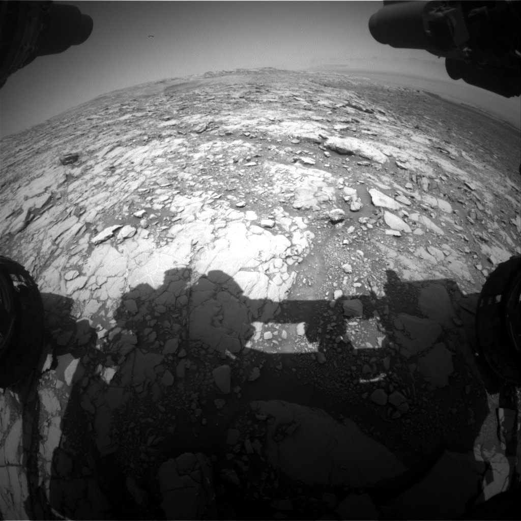 Nasa's Mars rover Curiosity acquired this image using its Front Hazard Avoidance Camera (Front Hazcam) on Sol 2043, at drive 1000, site number 70