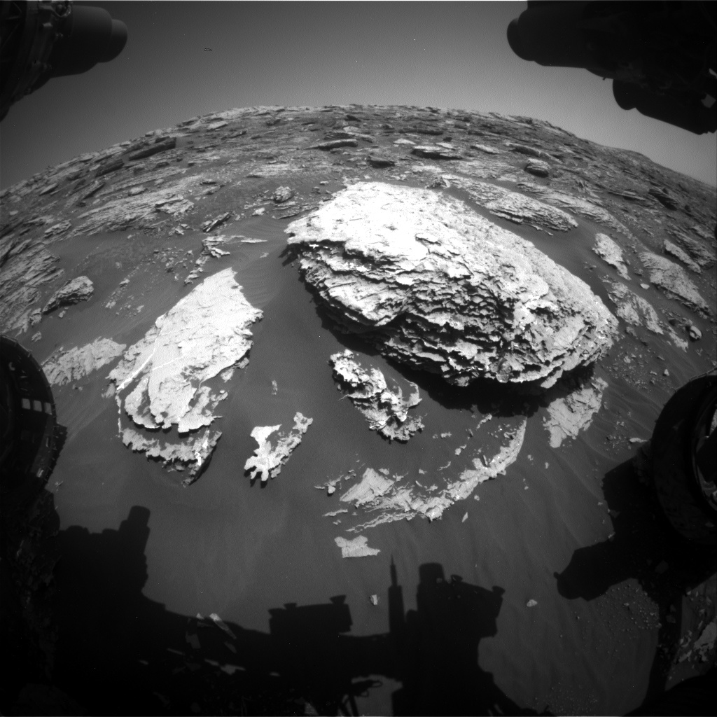 Nasa's Mars rover Curiosity acquired this image using its Front Hazard Avoidance Camera (Front Hazcam) on Sol 2047, at drive 1538, site number 70