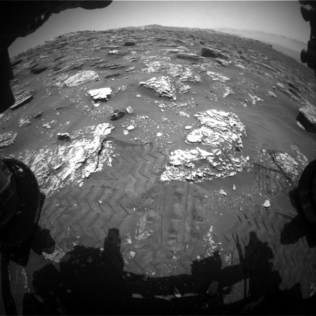 NASA's Mars rover Curiosity acquired this image using its Front Hazard Avoidance Cameras (Front Hazcams) on Sol 2052
