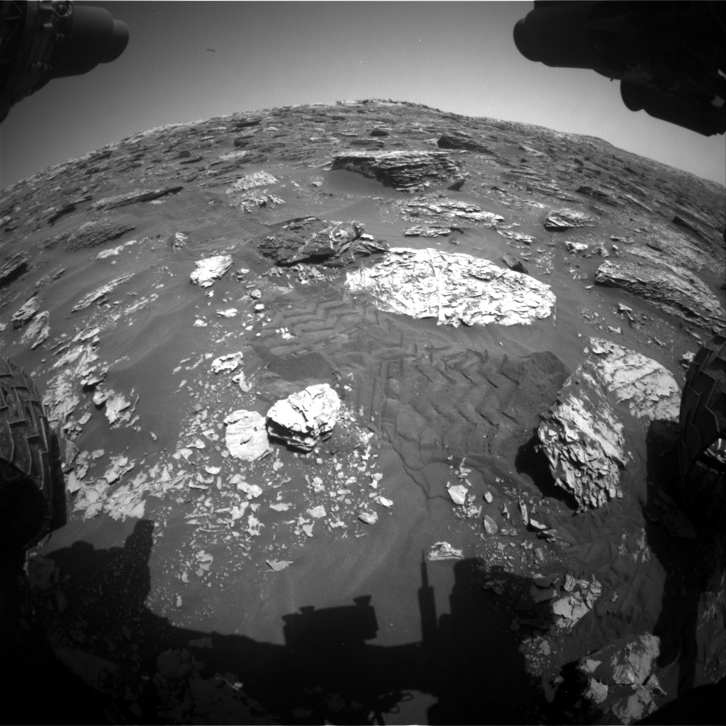 Nasa's Mars rover Curiosity acquired this image using its Front Hazard Avoidance Camera (Front Hazcam) on Sol 2053, at drive 1734, site number 70