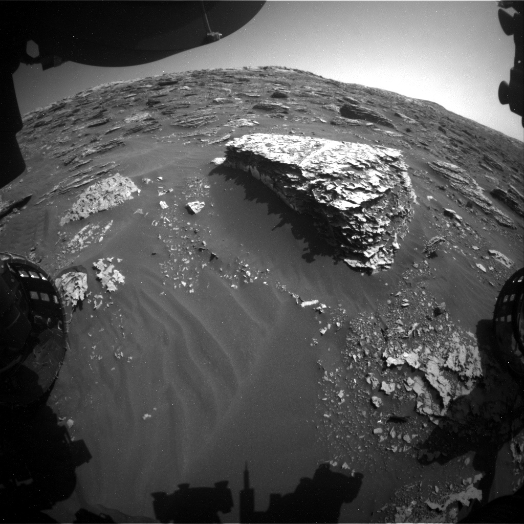 Nasa's Mars rover Curiosity acquired this image using its Front Hazard Avoidance Camera (Front Hazcam) on Sol 2073, at drive 1752, site number 70