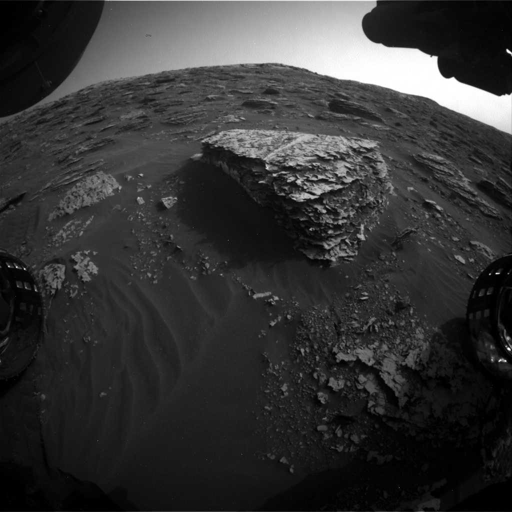 Nasa's Mars rover Curiosity acquired this image using its Front Hazard Avoidance Camera (Front Hazcam) on Sol 2076, at drive 1752, site number 70