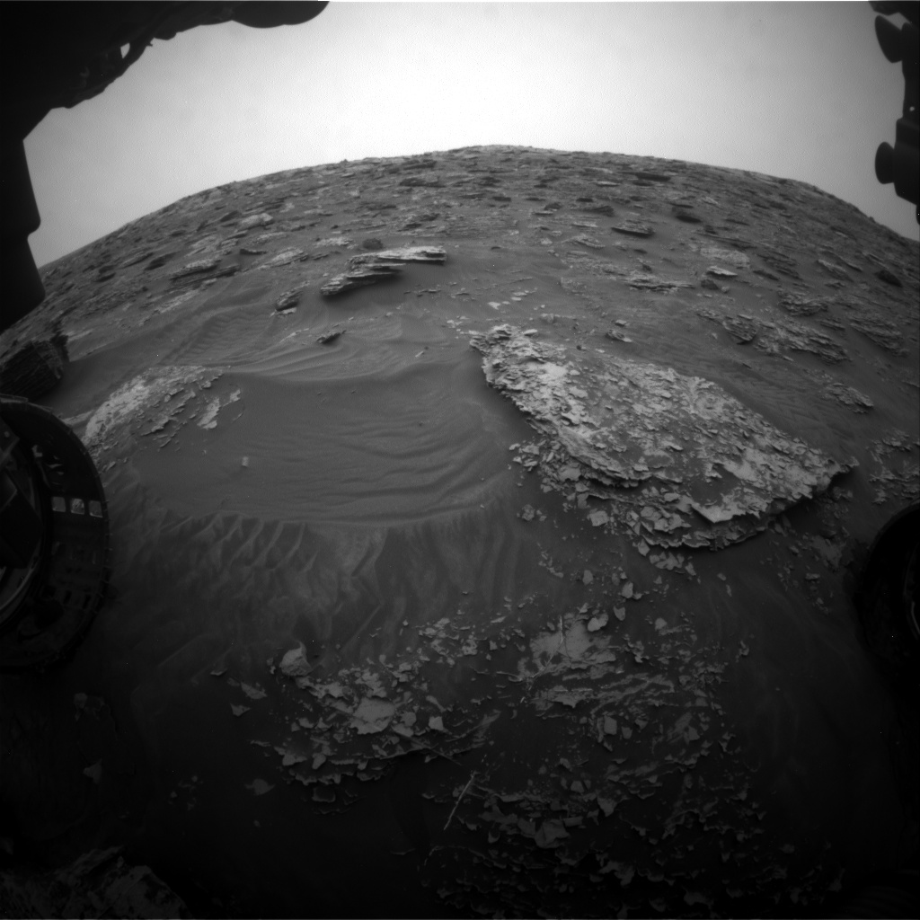 Nasa's Mars rover Curiosity acquired this image using its Front Hazard Avoidance Camera (Front Hazcam) on Sol 2086, at drive 60, site number 71