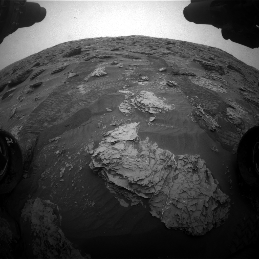 Nasa's Mars rover Curiosity acquired this image using its Front Hazard Avoidance Camera (Front Hazcam) on Sol 2089, at drive 96, site number 71