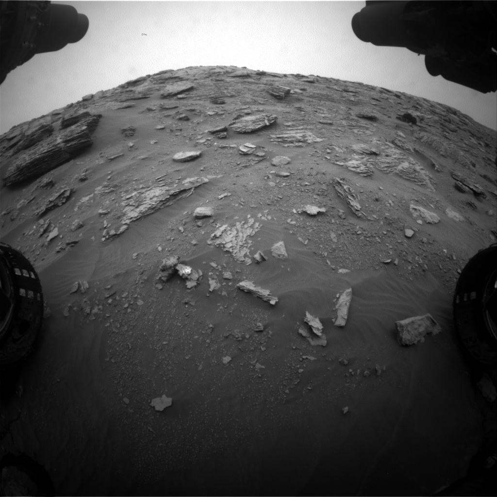 Nasa's Mars rover Curiosity acquired this image using its Front Hazard Avoidance Camera (Front Hazcam) on Sol 2092, at drive 570, site number 71