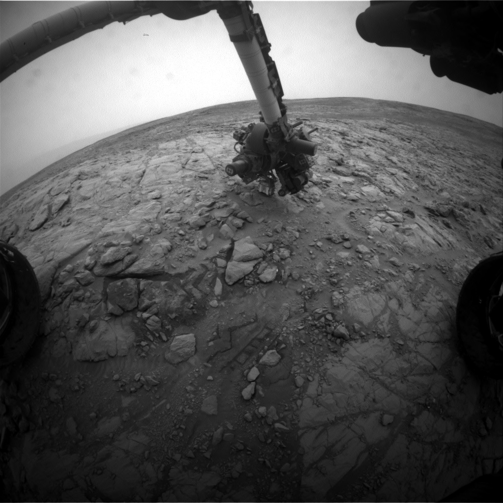 Nasa's Mars rover Curiosity acquired this image using its Front Hazard Avoidance Camera (Front Hazcam) on Sol 2100, at drive 1586, site number 71