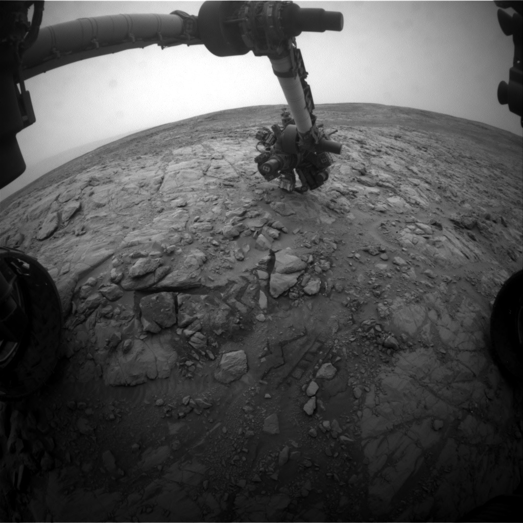 NASA's Mars rover Curiosity acquired this image using its Front Hazard Avoidance Cameras (Front Hazcams) on Sol 2101