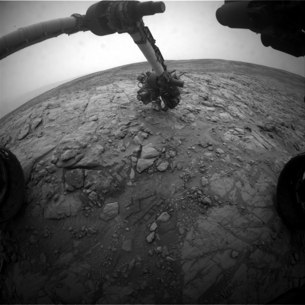 Nasa's Mars rover Curiosity acquired this image using its Front Hazard Avoidance Camera (Front Hazcam) on Sol 2101, at drive 1586, site number 71