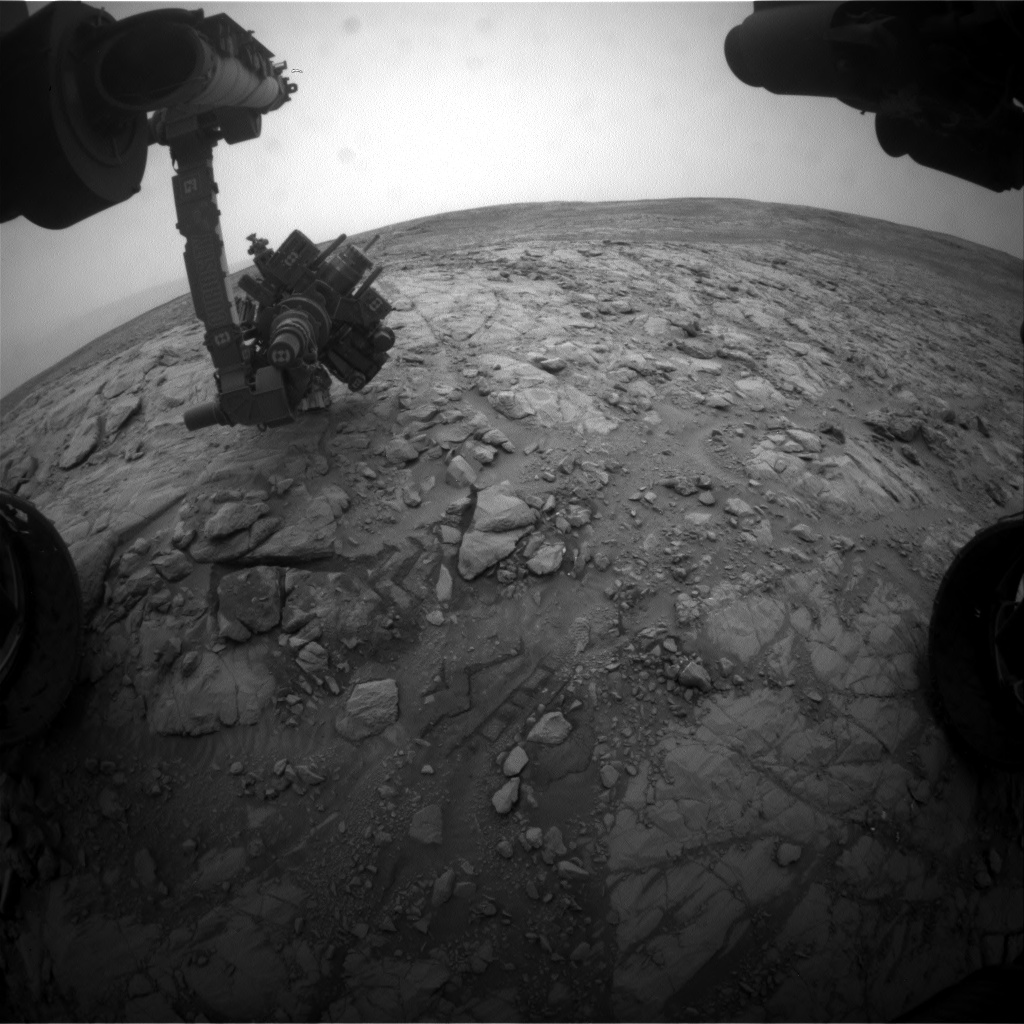 Nasa's Mars rover Curiosity acquired this image using its Front Hazard Avoidance Camera (Front Hazcam) on Sol 2102, at drive 1586, site number 71
