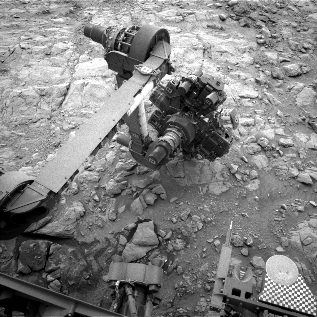 Nasa's Mars rover Curiosity acquired this image using its Left Navigation Camera on Sol 2102, at drive 1586, site number 71