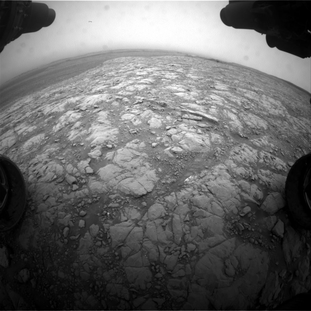 Nasa's Mars rover Curiosity acquired this image using its Front Hazard Avoidance Camera (Front Hazcam) on Sol 2104, at drive 1818, site number 71