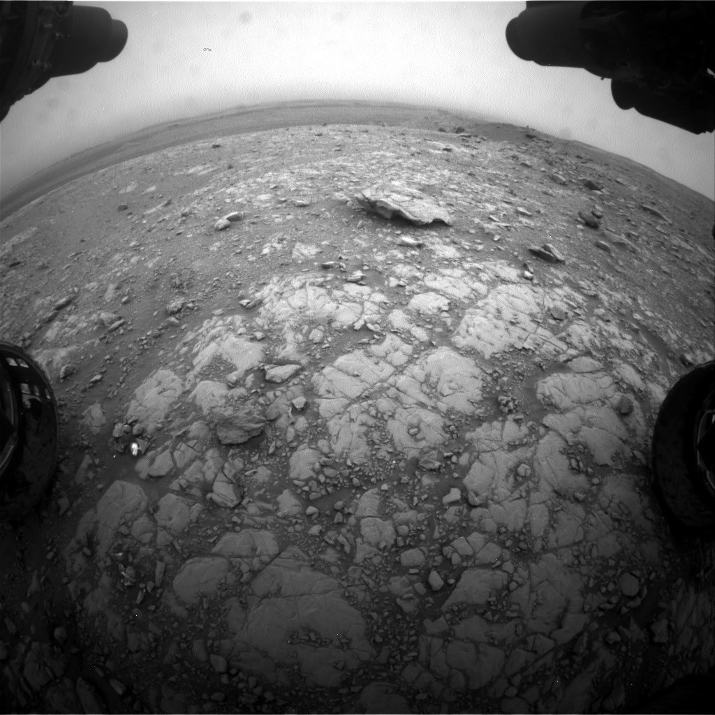 Nasa's Mars rover Curiosity acquired this image using its Front Hazard Avoidance Camera (Front Hazcam) on Sol 2104, at drive 2350, site number 71
