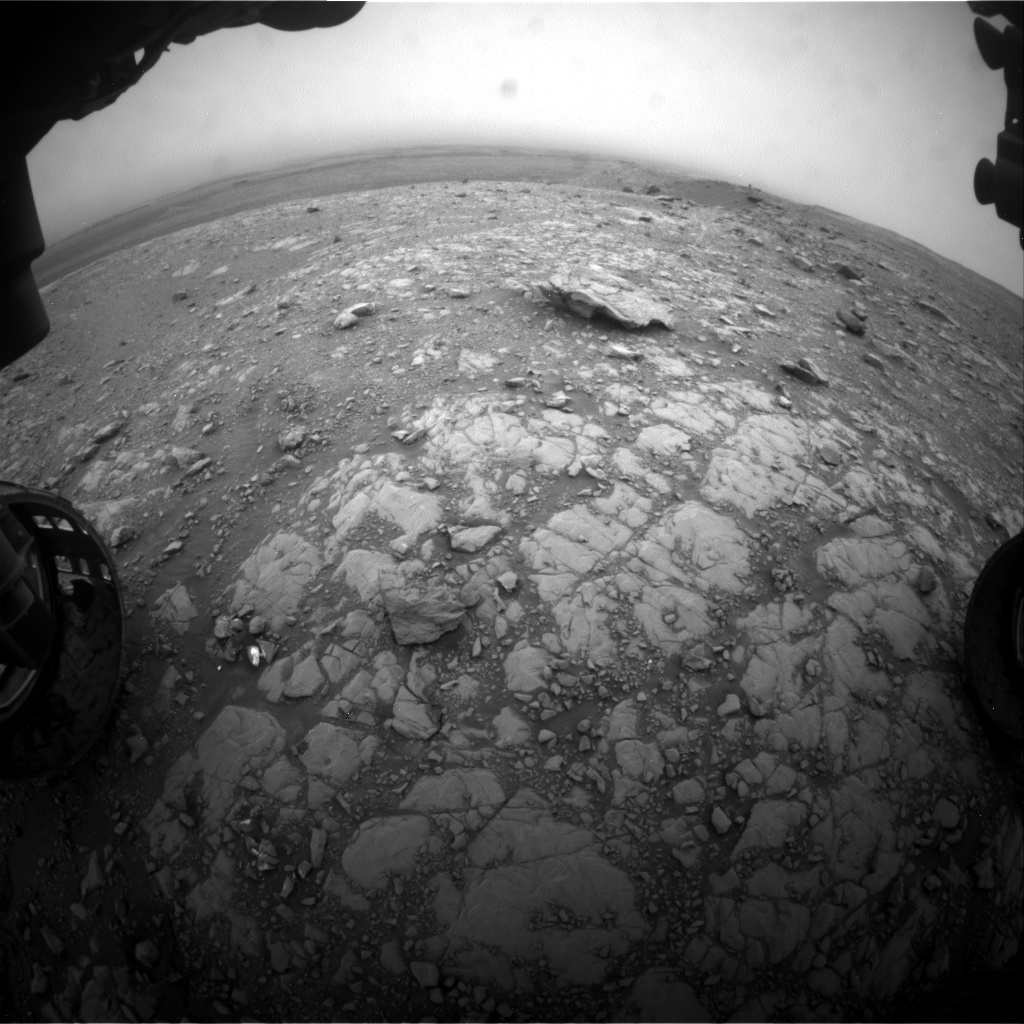 Nasa's Mars rover Curiosity acquired this image using its Front Hazard Avoidance Camera (Front Hazcam) on Sol 2105, at drive 2350, site number 71