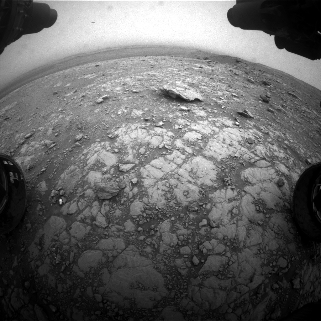 Nasa's Mars rover Curiosity acquired this image using its Front Hazard Avoidance Camera (Front Hazcam) on Sol 2106, at drive 2350, site number 71