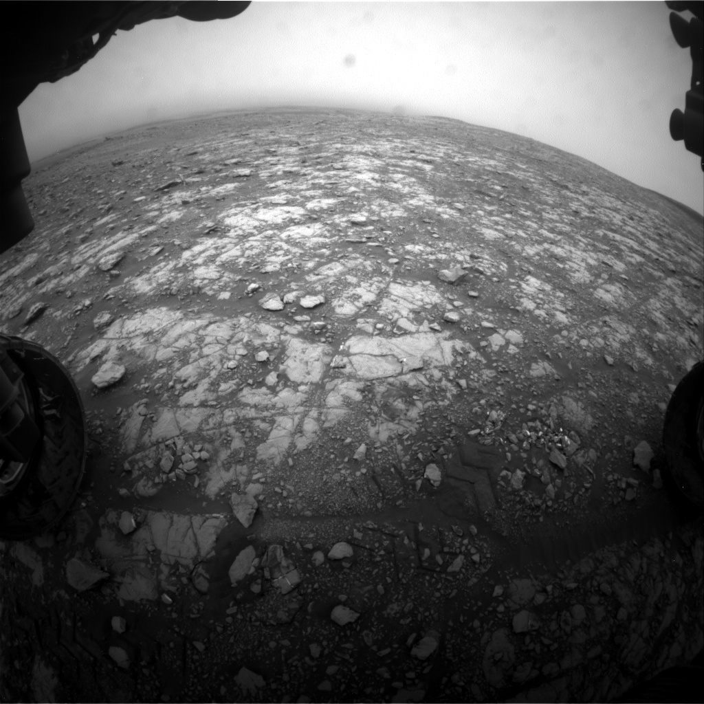 Nasa's Mars rover Curiosity acquired this image using its Front Hazard Avoidance Camera (Front Hazcam) on Sol 2107, at drive 2804, site number 71