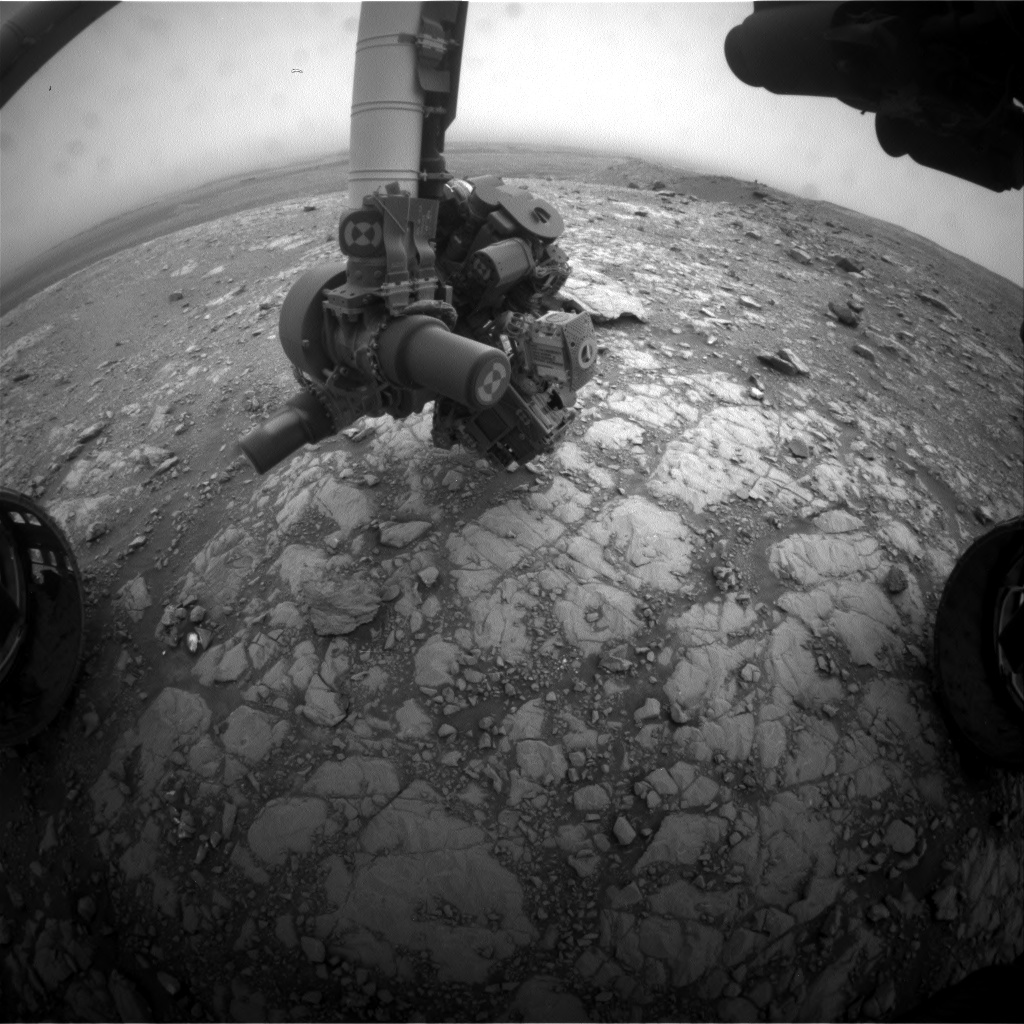 Nasa's Mars rover Curiosity acquired this image using its Front Hazard Avoidance Camera (Front Hazcam) on Sol 2107, at drive 2350, site number 71