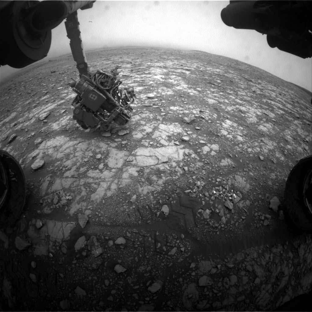 Nasa's Mars rover Curiosity acquired this image using its Front Hazard Avoidance Camera (Front Hazcam) on Sol 2108, at drive 2804, site number 71