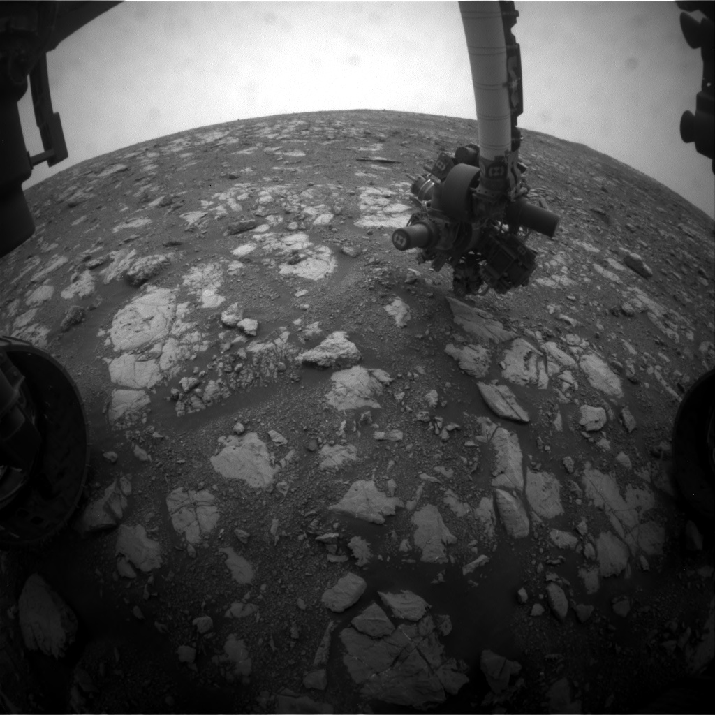 Nasa's Mars rover Curiosity acquired this image using its Front Hazard Avoidance Camera (Front Hazcam) on Sol 2119, at drive 0, site number 72