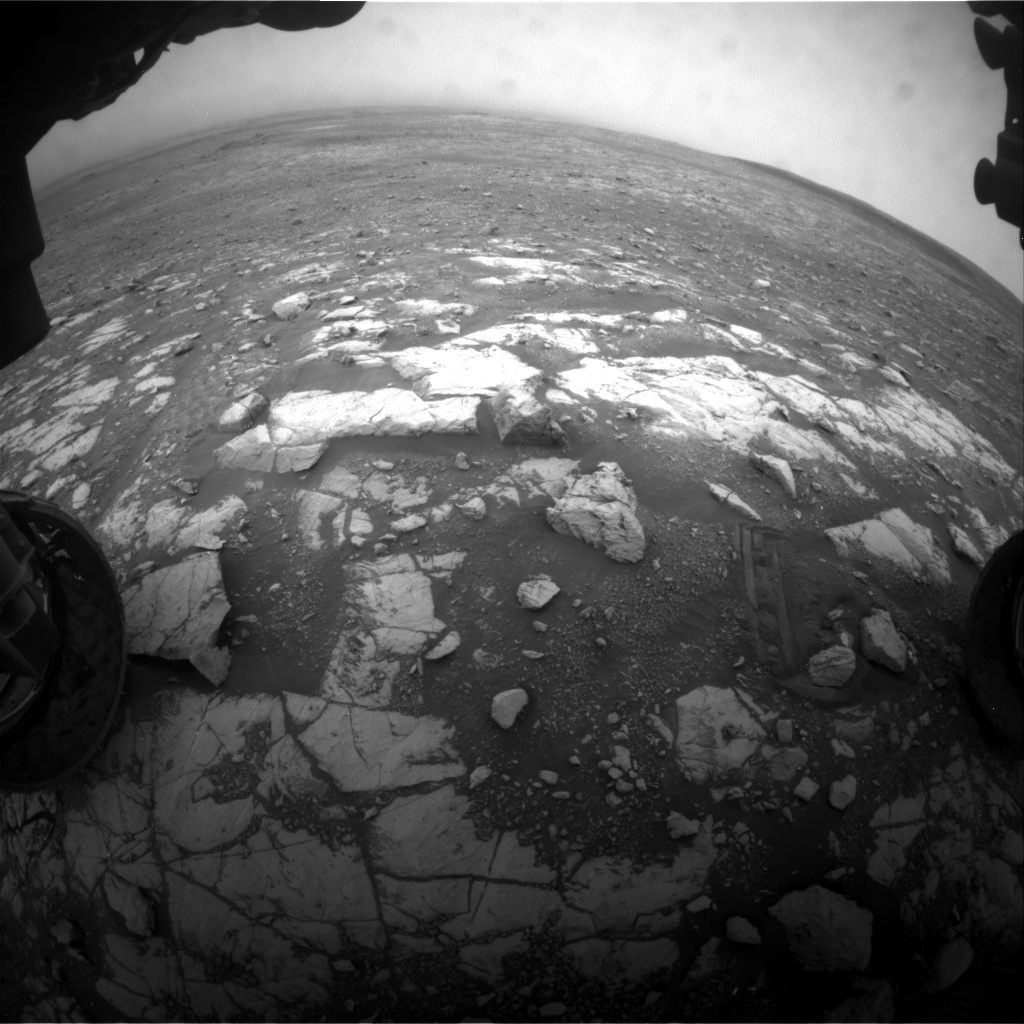 Nasa's Mars rover Curiosity acquired this image using its Front Hazard Avoidance Camera (Front Hazcam) on Sol 2119, at drive 202, site number 72