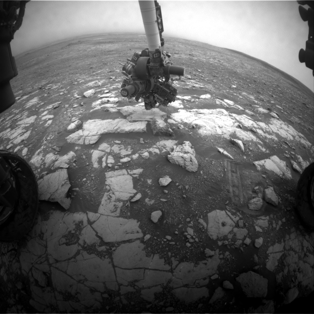 Nasa's Mars rover Curiosity acquired this image using its Front Hazard Avoidance Camera (Front Hazcam) on Sol 2120, at drive 202, site number 72