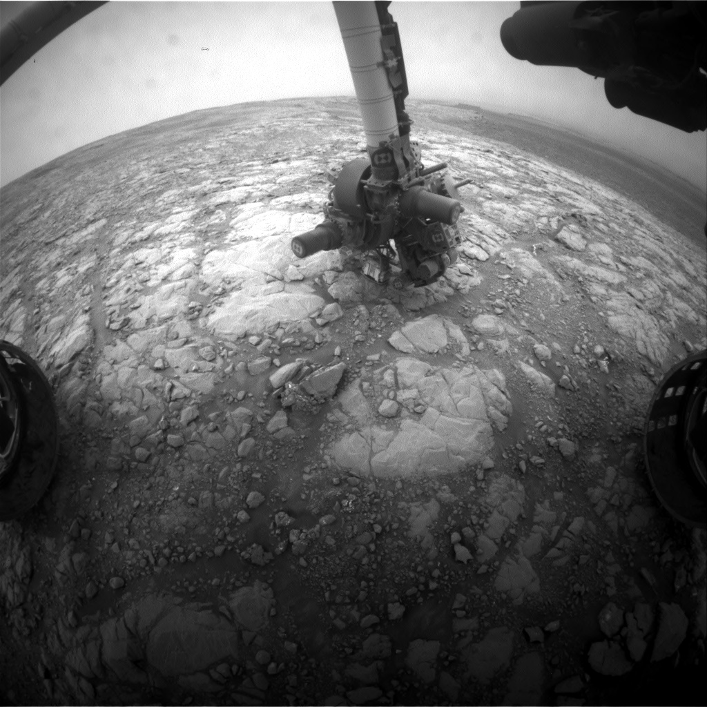 Nasa's Mars rover Curiosity acquired this image using its Front Hazard Avoidance Camera (Front Hazcam) on Sol 2128, at drive 920, site number 72