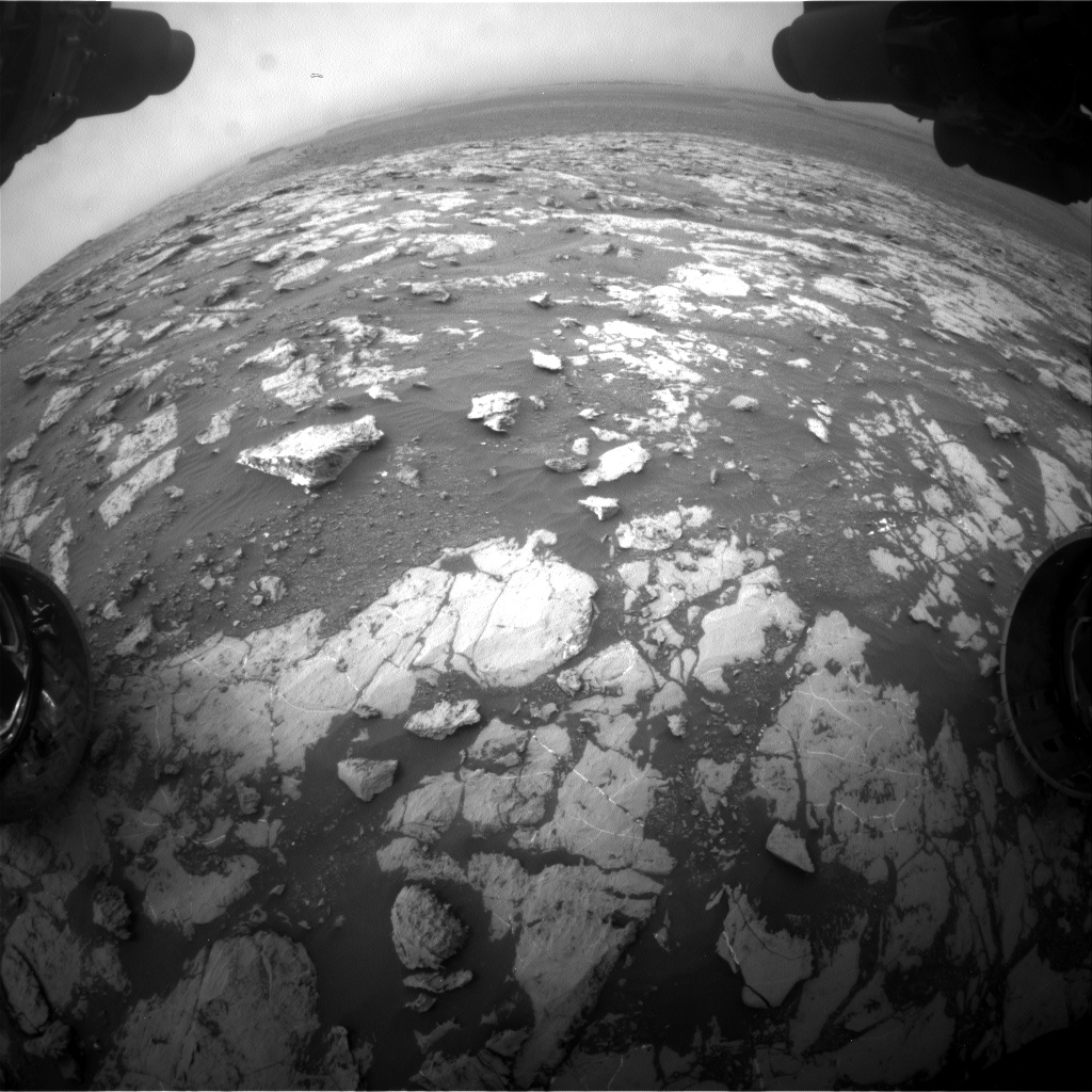Nasa's Mars rover Curiosity acquired this image using its Front Hazard Avoidance Camera (Front Hazcam) on Sol 2128, at drive 1286, site number 72