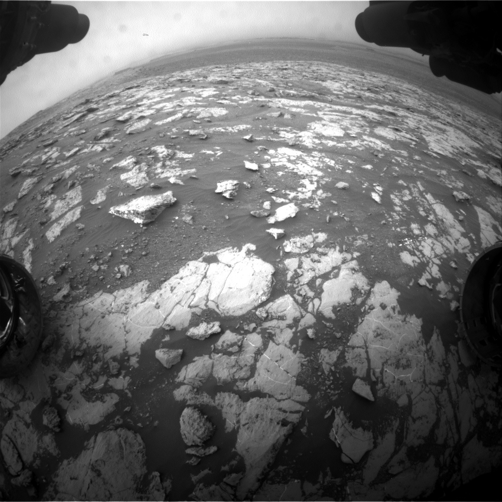 Nasa's Mars rover Curiosity acquired this image using its Front Hazard Avoidance Camera (Front Hazcam) on Sol 2129, at drive 1286, site number 72