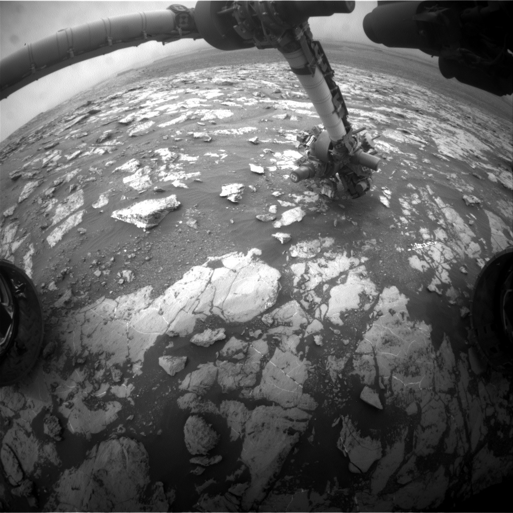 Nasa's Mars rover Curiosity acquired this image using its Front Hazard Avoidance Camera (Front Hazcam) on Sol 2131, at drive 1286, site number 72