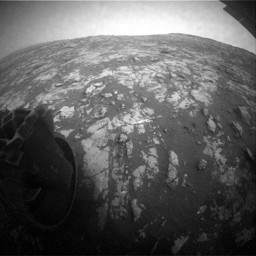 NASA's Mars rover Curiosity acquired this image using its Rear Hazard Avoidance Cameras (Rear Hazcams) on Sol 2154