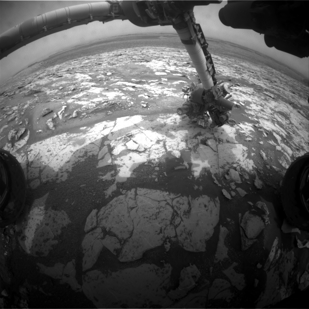 Nasa's Mars rover Curiosity acquired this image using its Front Hazard Avoidance Camera (Front Hazcam) on Sol 2156, at drive 1316, site number 72