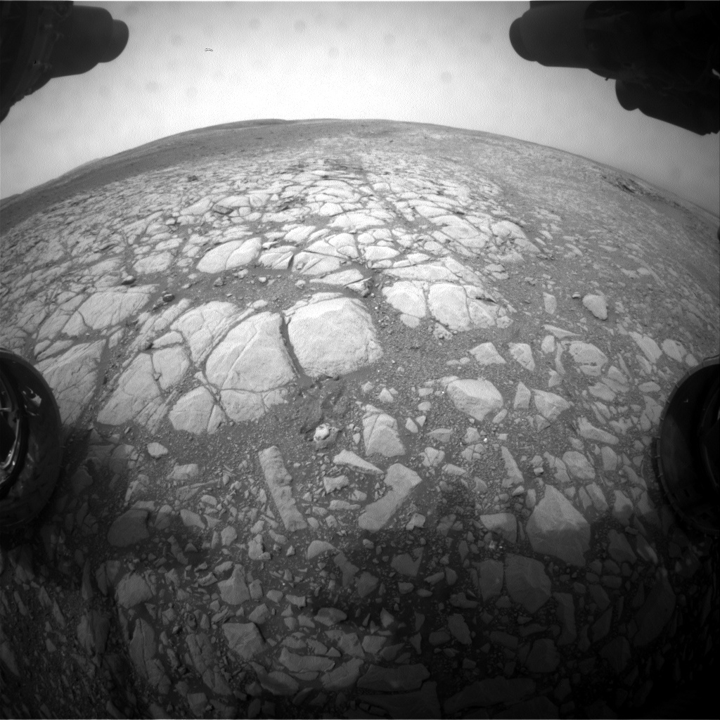 Nasa's Mars rover Curiosity acquired this image using its Front Hazard Avoidance Camera (Front Hazcam) on Sol 2158, at drive 1980, site number 72