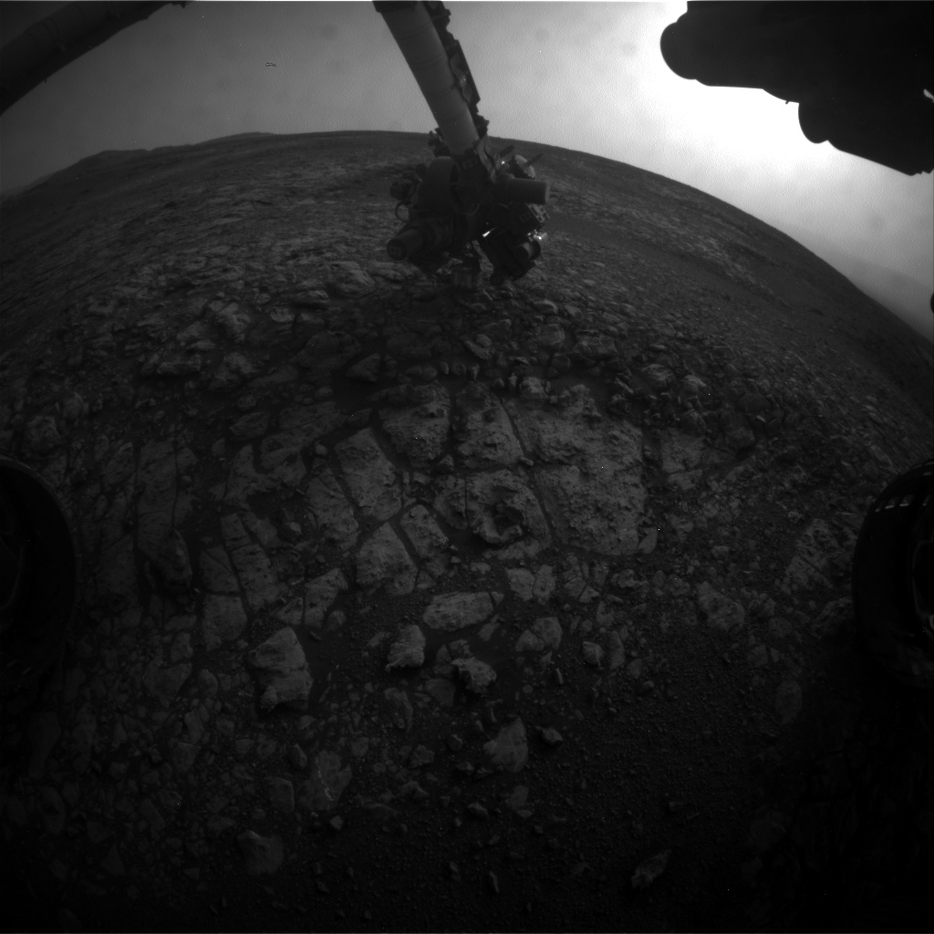 Nasa's Mars rover Curiosity acquired this image using its Front Hazard Avoidance Camera (Front Hazcam) on Sol 2165, at drive 2410, site number 72