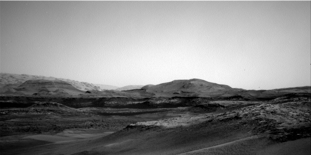 Navcam view of the hills of Mt. Sharp looming ahead of the rover.