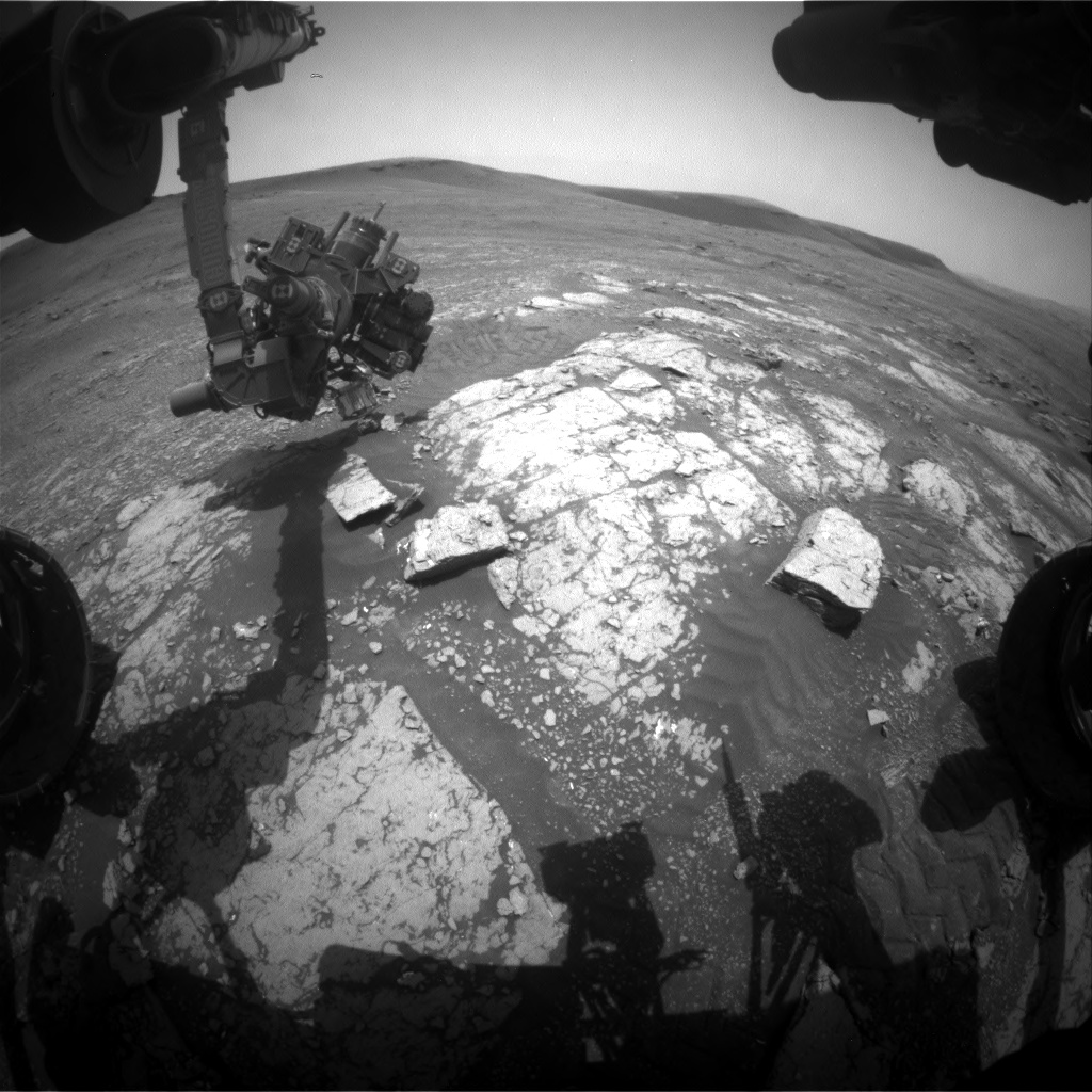 Nasa's Mars rover Curiosity acquired this image using its Front Hazard Avoidance Camera (Front Hazcam) on Sol 2347, at drive 762, site number 74